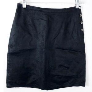 J. Crew Skirt Pencil Lined Linen Black 6